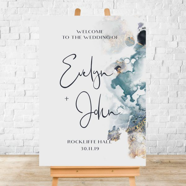 Evelyn Gold Watercolour Welcome Sign